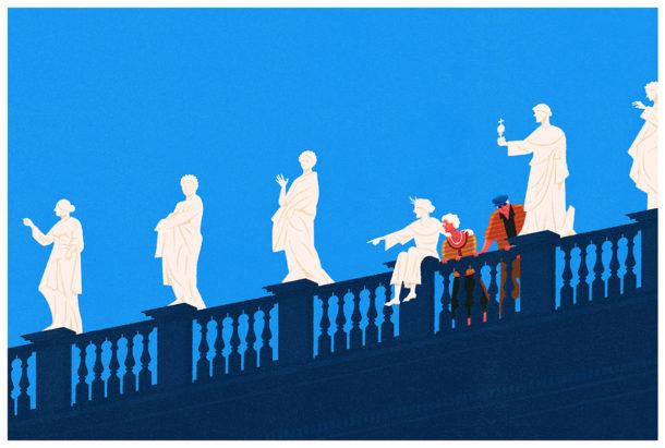 Opere d'arte e turisti, le illustrazioni di Francesco Bongiorni